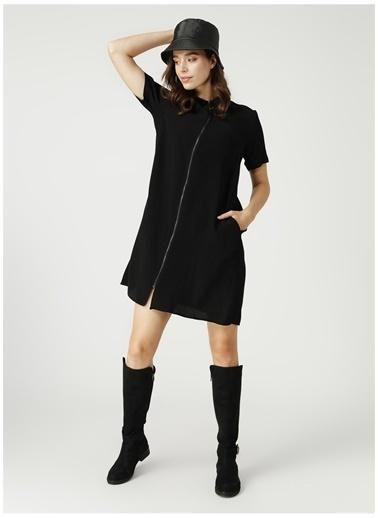 Fabrika Fabrika Gömlek Yaka Düz Siyah Elbise Siyah